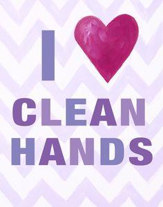 I Heart Clean Hands Paper Print