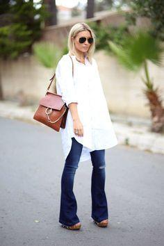 Flared jeans, white shirt dress