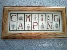 """Schmibble & Co.  """"Camping"""" cross stitch with charms"""