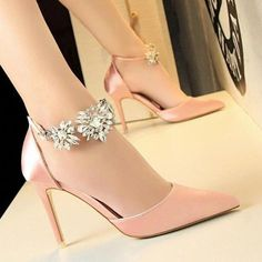 BIGTREE new Women Pumps Rhinestones High-heeled Shoes Thin Pink High Heel  Shoes Hollow Pointed Stiletto Elegant Wedding shoes fd2f95beb09e