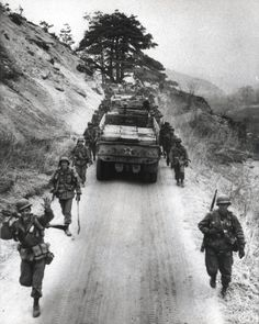 "Marine Supply trucks move North to relieve Army Elements moving to the rear, on 12 April"" From the Photograph Collection Marine Corps Archives & Special Collections OFFICIAL USMC PHOTO Canadian History, Us History, American History, History Photos, Usmc, Marines, Warring States Period, Korean People, War Photography"