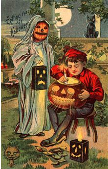 Vintage Halloween Postcard Jack-O-Lantern Ghost Child Costume Black Cat Cats