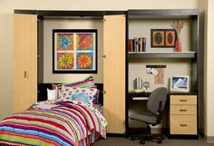 Make better use of your #teen's bedroom with a #Murphy bed.