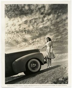 1940 vintage and original Universal Pictures publicity photograph of Deanna Durbin in sun hat and driving gloves as she poses next to the hood of a Nash Automobile. Fine condition with light corner wear. | eBay.