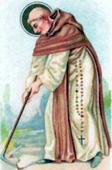 Saint Fiacre, patron saint of sexually transmitted diseases, enjoys a spot of hoeing.