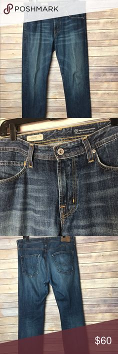 "AG Adriano Goldschmied Protege Straight Leg Jeans Men's AG Adriano Goldschmied 'Protege Straight Leg' jeans in size 33 Inseam 34"" Outseam 43"" Waist across 18"" MSRP $185 Distressing on bottom of pants, otherwise excellent used condition Smoke free home! AG Adriano Goldschmied Jeans Straight"