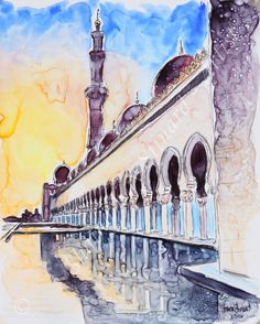 CUSTOM TRAVEL SKETCH / MIXED MEDIA/ YUPO PAPER , watercolor with pen and ink by Shaina Kay Stinard - Artist. making your photos a work of art! www.shainastinard... Always taking commissions! 'Reflections' - 8 x 10 mixed media sketch on YUPO paper. Sheikh Zayed Grand Mosque in Abu Dubai