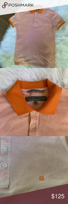 be7bf1a1 givenchy • men's vintage polo shirt size small men's givenchy polo shirt .  orange trim on