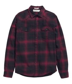 Slim-fit red & black plaid shirt in cotton flannel with snap fasteners. | H&M Men
