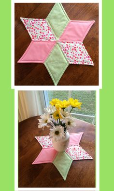 Spring Quilted Star Candle Mat, Easter Table Topper with   Green, Pink and White Tulips - Reversible  #quilts #easter #affiliate #spring