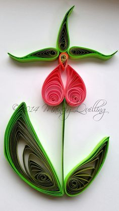 Quilled Pink Lady's Slipper by Mainely Quilling