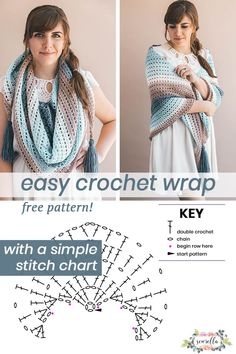 Crochet this easy beginner friendly wrap shawl scarf with my free pattern and simple stitch chart! #crochet #diy #freepattern #howto #triangle scarf #beginner #stitchchart