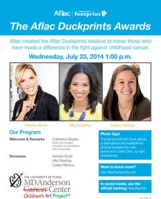 Join us for this great event tomorrow! You can also take a picture with the Aflac Duck! #duckprints