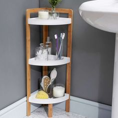 Elements Bamboo 3 Tier Corner Caddy | Dunelm