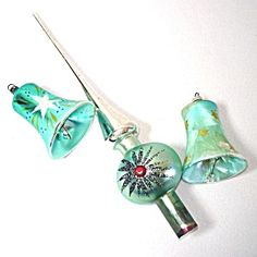 Clapper Bells, Spire Tree Topper West German Christmas Ornaments