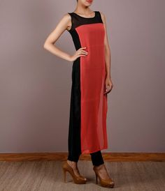 Orange & black without sleeves brand Popnetic Indian Attire, Indian Wear, Pakistani Outfits, Indian Outfits, Kurtha Designs, Dress Designs, Suit Pattern, Salwar Designs, Desi Clothes