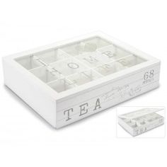 Scatola porta tè shabby chic bianco legno vetro 12 posti