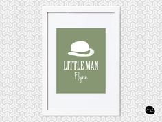LITTLE MAN DESIGN ~ Personalised Wall Art - Home Decor Print - Hat Design by HannahDeanDesigns on Etsy