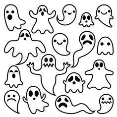 Scary Ghosts Design, Halloween Characters Icons Set Stock Vector - Image: 72334161
