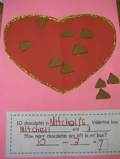 Kindergarten Valentine Math Ideas MATHEMATIC HISTORY Mathematics is among the oldest sciences in human history. School Holidays, School Fun, School Stuff, School Ideas, Pre School, Winter Holidays, Subtraction Kindergarten, Kindergarten Activities, Educational Activities
