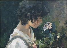 Joaquin Sorolla (1863-1923) - Italian girl with flowers