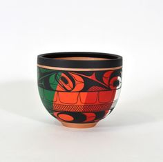 """Northwest Coast Native Turned Maple Bowl First Nations Art 7"""" Tall Signed Hand Painted"""