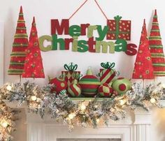 Lovely Red And Green Christmas Home Decor Ideas 23 Whimsical Christmas, Green Christmas, Christmas Colors, Winter Christmas, Merry Christmas, Magical Christmas, Christmas Fireplace, Christmas Mantels, Xmas Decorations