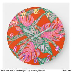 Shop Palm leaf and coleus tropical fire large clock created by Butterflybeestro. Tropical Design, Large Clock, Fire And Ice, Bathroom Sets, Coral Pink, Palm, Leaves, Display