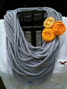 Upcycled GREY tshirt infinity scarf with a yellow