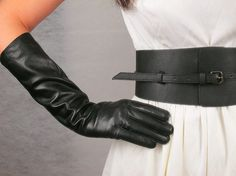 Real Leather Gloves -  15.75 inches Long Black - Sheepskin - Women - Handmade