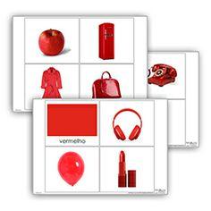Livro de cor: vermelho. Cada livro de cor inclui: 1carta com titulo 10 imagens