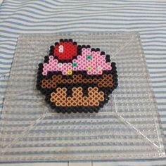 Cupcake mushroom perler beads by theinfamousbigd