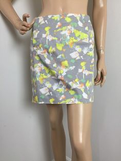 J Crew Stretch Printed Multicolor Skirt Women's Size 0 | eBay