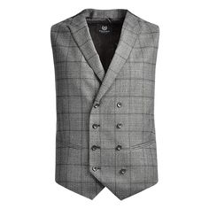 Charcoal Grey Prince of Wales Check  Eight Button Front  Double Breasted Waistcoat 2 Jet Pockets, Peak Lapel  Dry Clean Only  Fabric Woven in Italy -- Lanificio Di Fabio, Biella  97% Wool 3% Cashmere