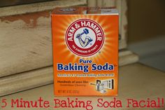 You mix 3T baking soda with 1T water and then apply it in a circular motion to your face. Let it sit for 5 minutes then rinse it off with warm water. Repeat once weekly.