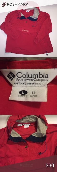Red Columbia rain jacket - large Like new condition red hooded with tan and dark navy blue accents on hood of this rain jacket. Front  zippered hidden pocket and also 2 side pockets. Button down from detail and googles to tighten good and waist. Columbia Jackets & Coats Utility Jackets