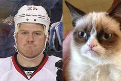 """Chris Neil made grumpy cat face tonight. Nhl Hockey Jerseys, Hockey Season, Super Cute Animals, Sidney Crosby, Pittsburgh Penguins, Cat Face, Grumpy Cat, Ottawa, Boys"