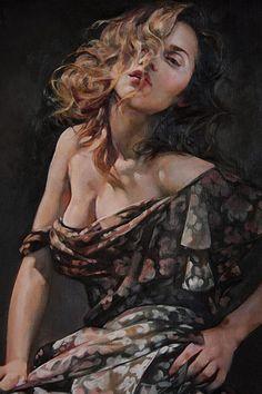 Artist: Francesca Strino (Italian, b. 1979), oil {figurative art female head shoulder décolletage woman face portrait painting}