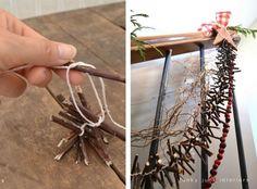 How to make this twig garland for Christmas! Click to see 4 other twig garland ideas. By Funky Junk Interiors for ebay.com / @ebay