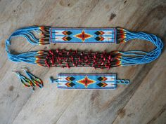 Guatemalan Hand Beaded Necklace set - Blue Sky
