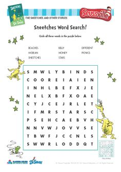Green Eggs And Ham Word Search