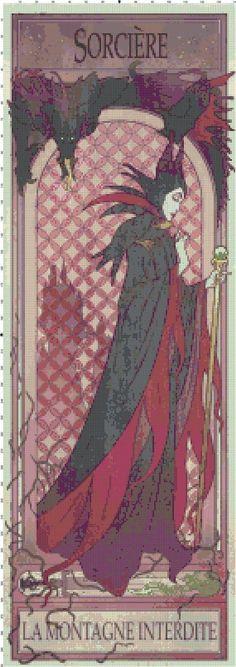 Gothic Maleficent Sorciere Fan Art Cross-Stitch Pattern Chart