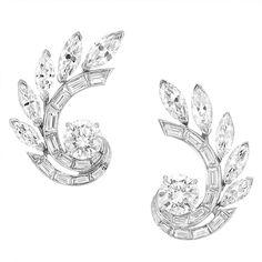 Pair of Platinum and Diamond Earclips, Van Cleef & Arpels