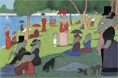 Sunday in the Park avec Babar. (A Sunday Afternoon on the Island of La Grande Jatte by Georges Seurat) Georges Seurat, Appropriation Art, Famous Artwork, Vampire Weekend, Classic Paintings, Oeuvre D'art, Art Museum, Art History, Art Projects