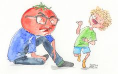 chłopiec sięśmieje a jego tata siedzi i ma zamiast głowy pomidora