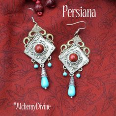 Turquoise Chandelier Earrings Vintage Filigree by AlchemyDivine https://www.etsy.com/listing/180621697/turquoise-chandelier-earrings-vintage