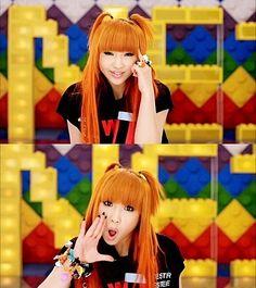 2NE1 Minzy Long Orange Straight with Bangs