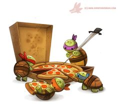 cryptid-creations: Daily Painting TMNT (FA) by Cryptid-Creations Time-lapse, high-res and WIP sketches of my art available on Patreon (: Cute Animal Drawings, Cute Drawings, Cute Cartoon, Cartoon Art, Ninja Turtles Art, Tmnt, Cute Art, Chibi, Illustrators