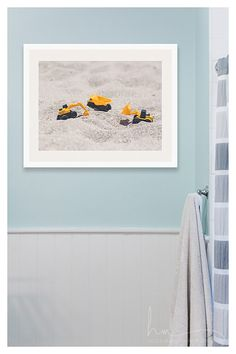 my boy is obsessed with diggers, so I can only imagine others who may be as well.  perfect for a nursery, bedroom, playroom or kids bath.   construction vehicles photograph working by HelenMPhotography