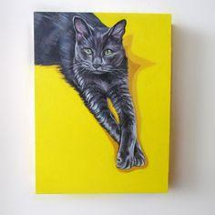 8x10 inches $175 CAD, Cat Portrait by LetitiasArt #petloss #catsympathy #petownergifts #commissionedart #petportrait #popartpetpainting #catportrait #customcatportrait #portraitfromphoto